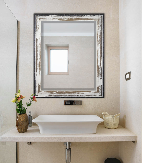 American Made Rayne Brown and Cream Distressed Beveled Wall Mirror (R109) *Suggested Retail*