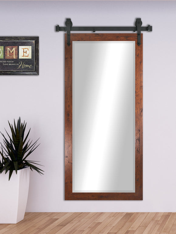 American Made Rayne Rustic Dark Walnut Beveled Wall Mirror with Barn Door Kit (R061BT) *Suggested Retail*