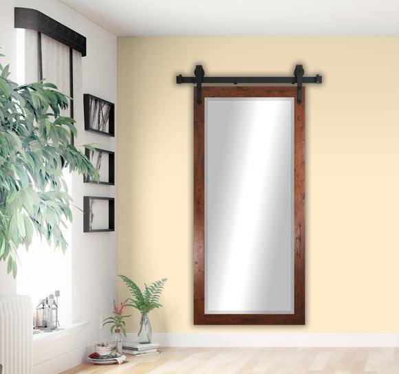 American Made Rayne Rustic Dark Walnut Beveled Wall Mirror with Barn Door Kit (R061XT) *Suggested Retail*