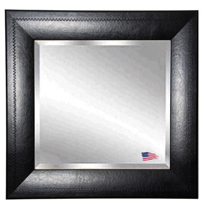 American Made Rayne Stitched Black Leather Square Wall Mirror - S038 ~Suggested Retail~