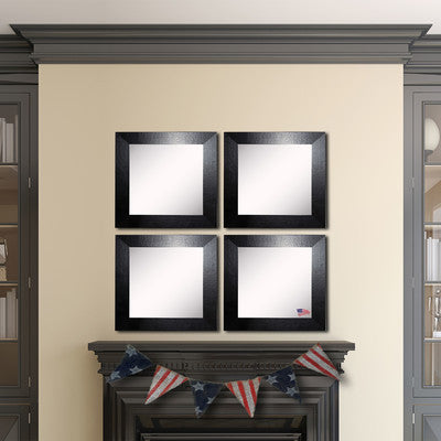 American Made Rayne Black Wide Leather Square Wall Mirror Set - S037S.4 ~Suggested Retail~