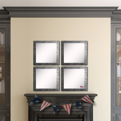 American Made Rayne Safari Silver Square Wall Mirror (S034MS Set of 3) *Suggested Retail*