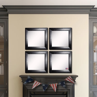 American Made Rayne Stitched Black Leather Square Wall Mirror Set - S038S.4 ~Suggested Retail~