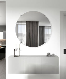 American Made Non-Beveled Frameless Round Wall Mirror (NB-1/4-FRMLS-RND-CHRM OVAL) *Suggested Retail*