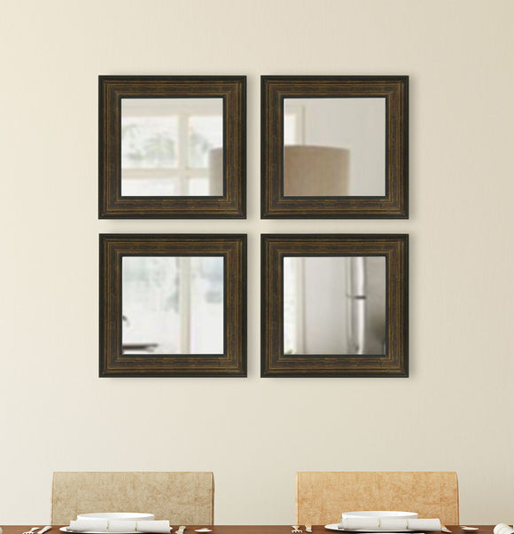 American Made Rayne Bronze and Black Square Wall Mirror (S015S Set of 4) *Suggested Retail*