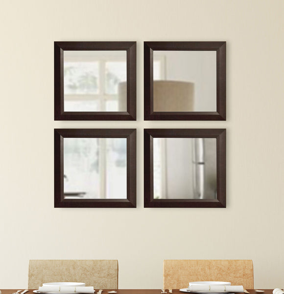 American Made Rayne Dark Walnut Square Wall Mirror Set (S016S Set of 4) *Suggested Retail*