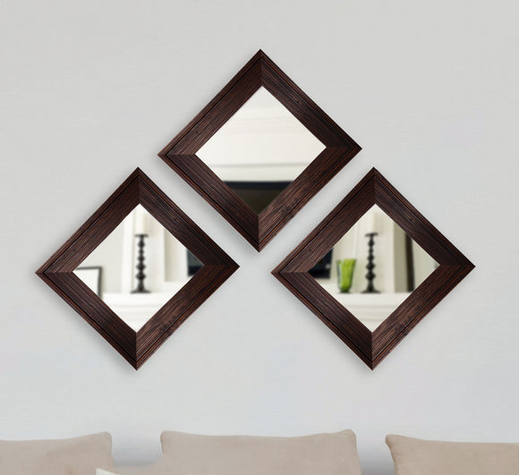 American Made Rayne Barnwood Brown Square Wall Mirror, Set of 3 (S017) ~Suggested Retail~