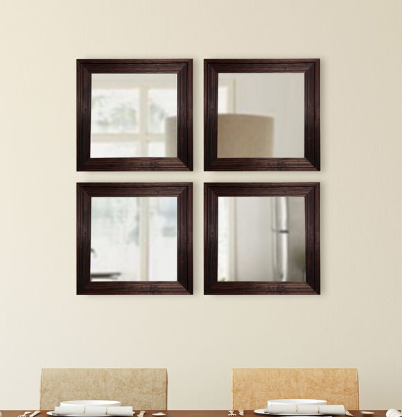 American Made Rayne Barnwood Brown Square Wall Mirror (S017S Set of 4) *Suggested Retail*