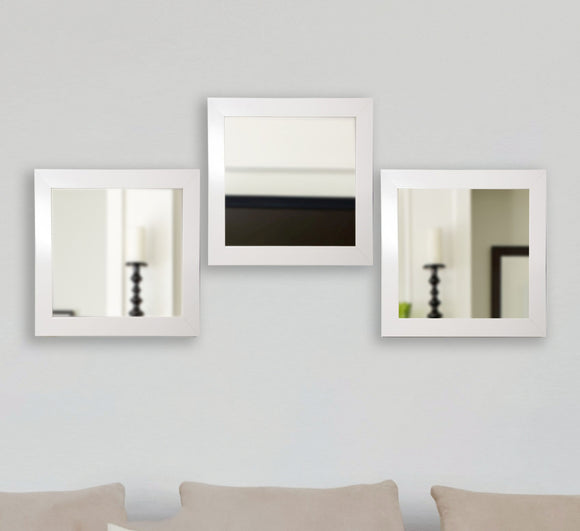 American Made Rayne Glossy White Square Wall Mirror Set (S021MS Set of 3) *Suggested Retail*