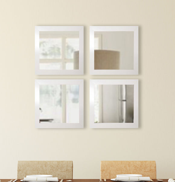 American Made Rayne Glossy White Square Wall Mirror Set - S021S.4 ~Suggested Retail~