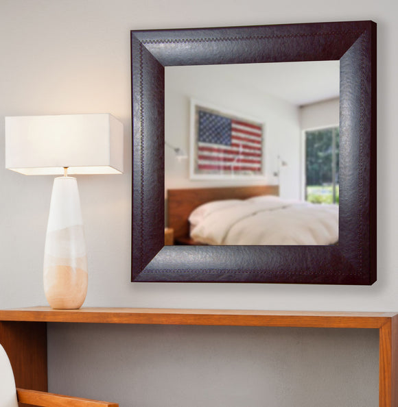 American Made Rayne Espresso Leather Square Wall Mirror - S023 ~Suggested Retail~