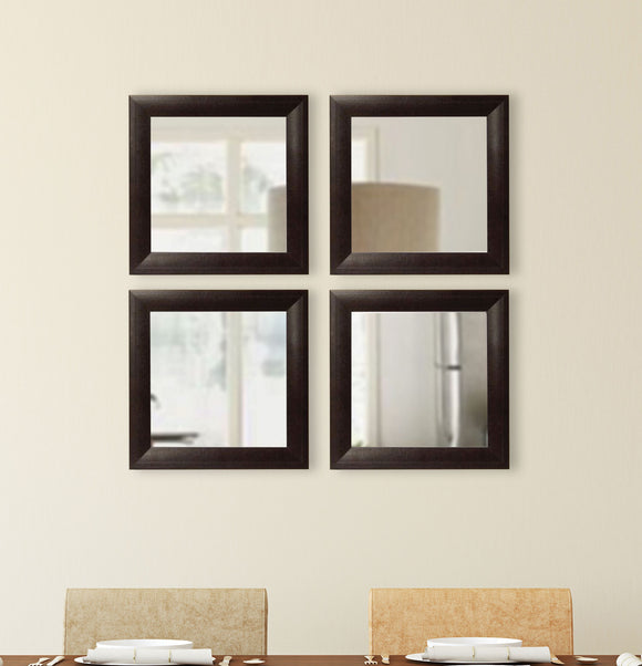 American Made Rayne Espresso Leather Square Wall Mirror Set (S023S Set of 4) *Suggested Retail*