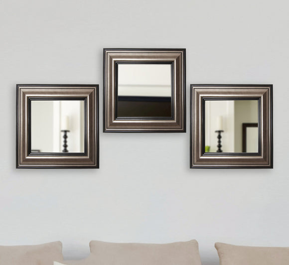 American Made Rayne Antique Silver Square Wall Mirror (S028MS Set of 3) *Suggested Retail*