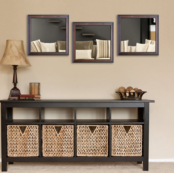 American Made Rayne American Walnut Square Wall Mirror (S030MS Set of 3) *Suggested Retail*