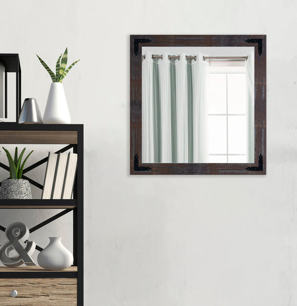 American Made Industrial Steel Square Wall Mirror with Decorative Black Corner Brackets (S043-BCB) *Suggested Retail*
