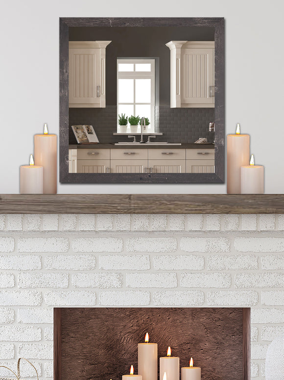 American Made Rayne American Barnwood Brown Square Wall Mirror (S044) *Suggested Retail*