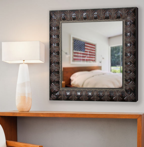 American Made Rayne Feathered Accent Square Wall Mirror (S049) *Suggested Retail*
