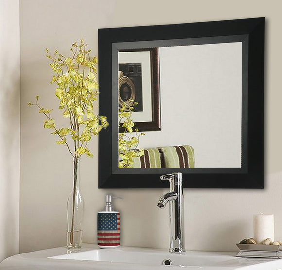 American Made Rayne Attractive Matte Black Square Wall Mirror (S053) *Suggested Retail*