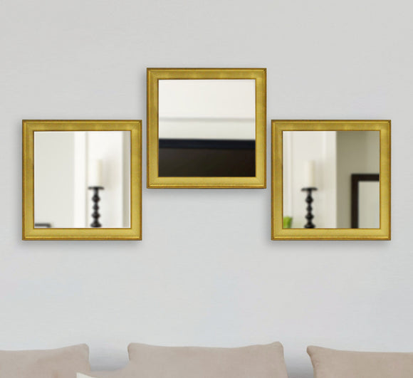 American Made Rayne Vintage Gold Square Wall Mirror (S057MS Set of 3) *Suggested Retail*