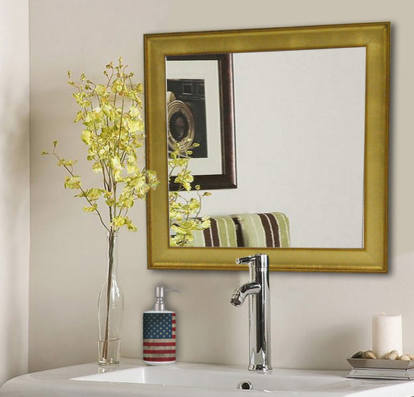 American Made Rayne Vintage Gold Square Wall Mirror (S057) *Suggested Retail*
