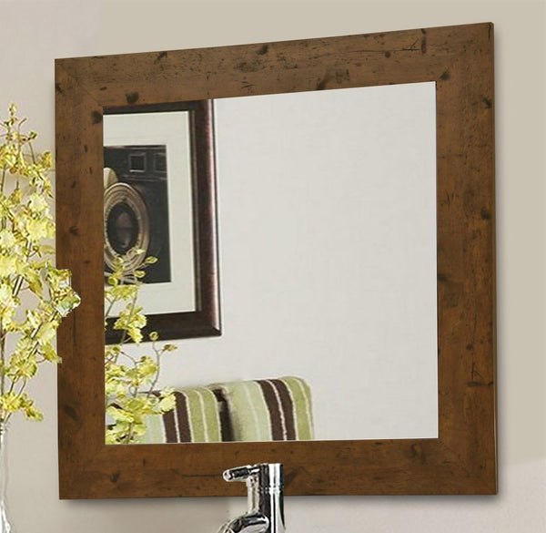 American Made Rayne Rustic Light Walnut Square Wall Mirror - S062 ~Suggested Retail~