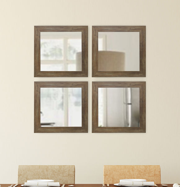 American Made Rayne Brown Barnwood Square Wall Mirror (S063S Set of 4) *Suggested Retail*