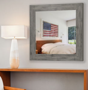 American Made Rayne Grey Barnwood Square Wall Mirror (S064) *Suggested Retail*