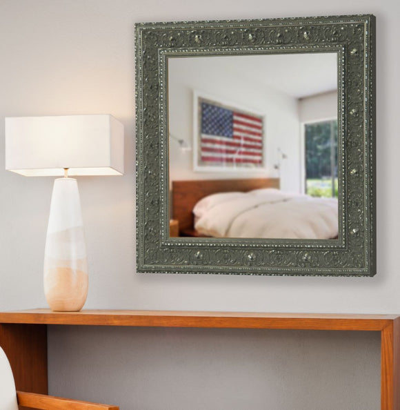 American Made Rayne Opulent Silver Square Mirror (S070) *Suggested Retail*