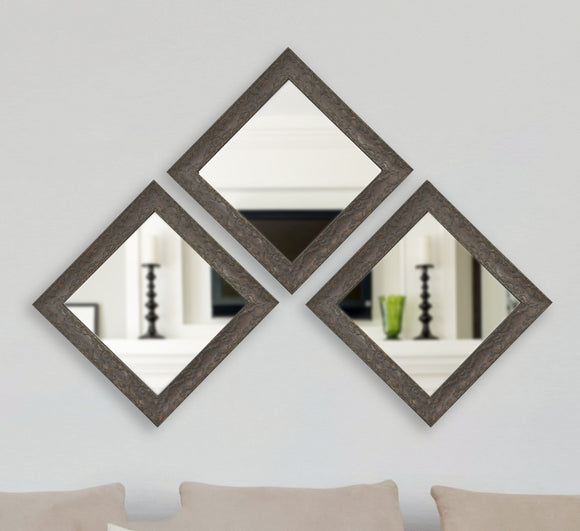 American Made Rayne McLaren Brown Square Wall Mirror (S078MS Set of 3) *Suggested Retail*