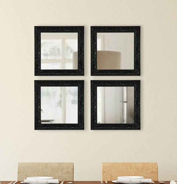American Made Rayne Black Endicott Square Mirror, Set of 4- (S080) ~Suggested Retail~