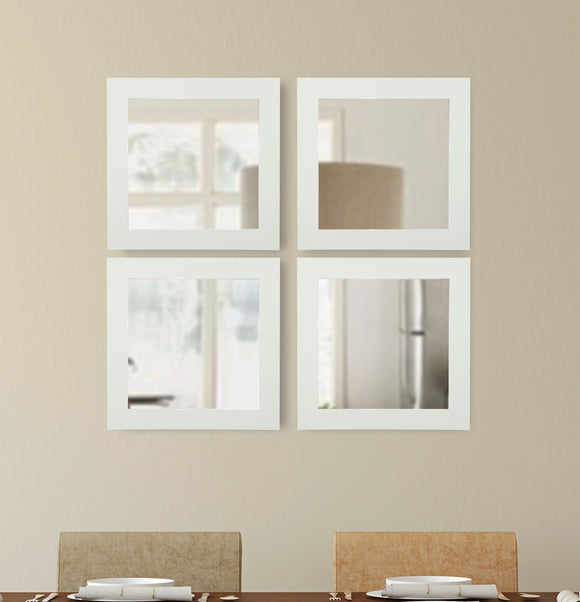 American Made Rayne Delta White Square Mirror (S087S Set of 4) *Suggested Retail*