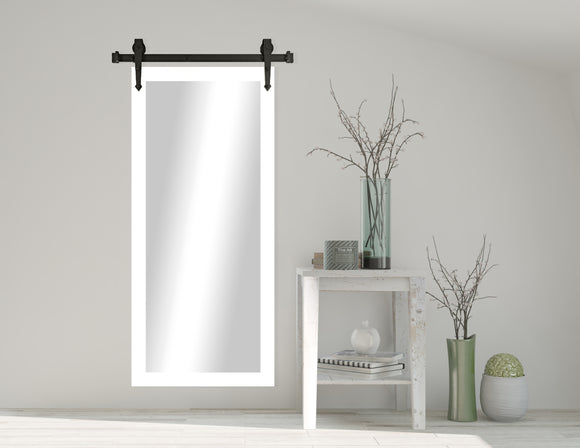 Non-Beveled Wall Mirror with Barn Door Kit (V036T) *Suggested Retail*