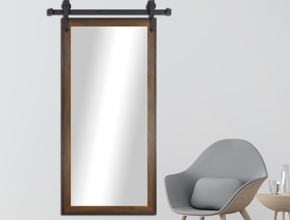 Non-Beveled Wall Mirror with Barn Door Kit (V052T) *Suggested Retail*