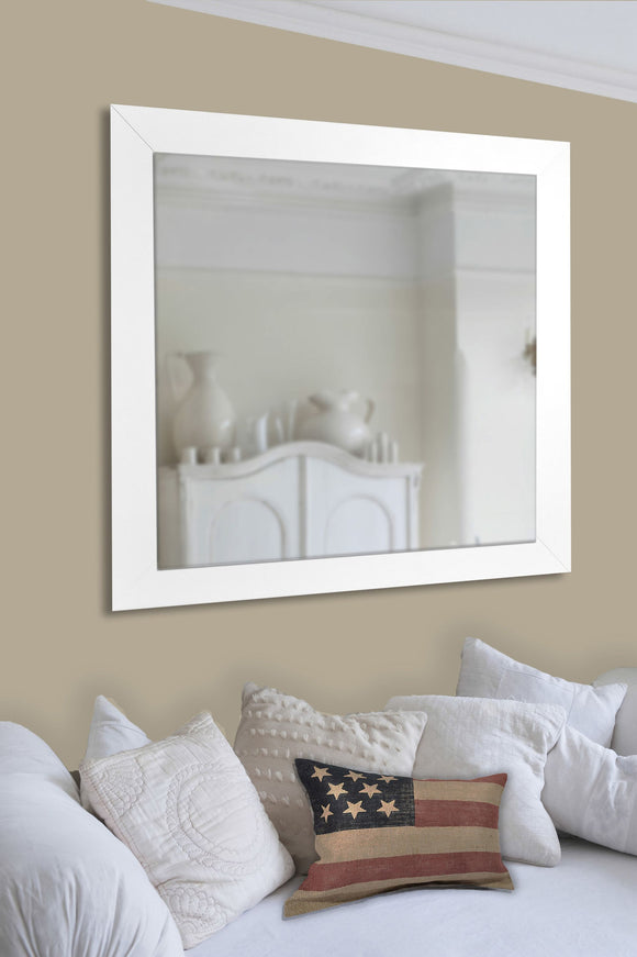 American Made Rayne White Satin Wide Wall/Vanity Mirror - V36 ~Suggested Retail~