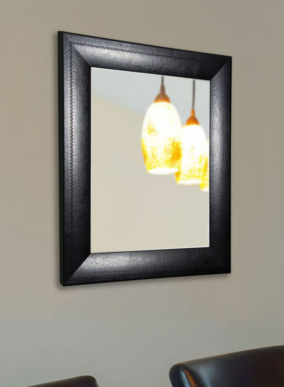 American Made Rayne Stitched Black Leather Wall Mirror - V038 ~Suggested Retail~