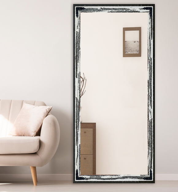 American Made Non-Beveled Extra Large Mirror with Decorative Black Corner Brackets *Suggested Retail*
