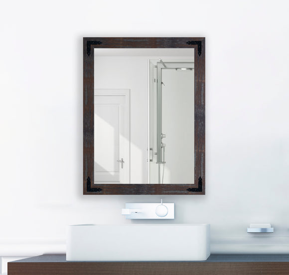 American Made Industrial Steel Non-Beveled Rectangle Wall Mirror with Decorative Black Corner Brackets (V043-BCB) *Suggested Retail*