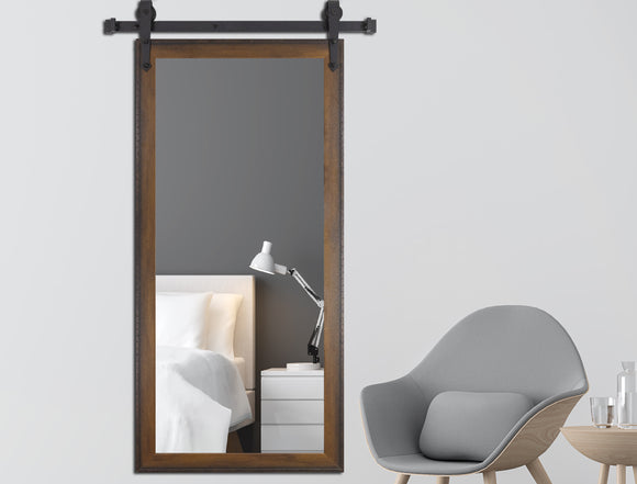 American Made Timber Estate Non-Beveled Tall Mirror with 3' Barn Door Kit (V052CVXT-3V) *Suggested Retail*