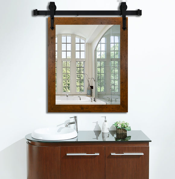 American Made Rustic Dark Walnut Wall Accent Mirror with 3' Barn Door Kit (V061-3V)  *Suggested Retail*