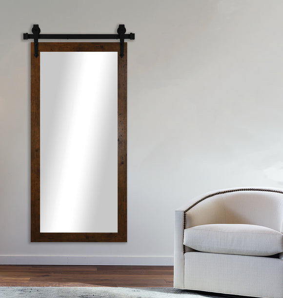 American Made Rayne Rustic Light Walnut Non-Beveled Wall Mirror with Barn Door Kit (V062CVXT) *Suggested Retail*