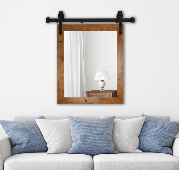 American Made Rustic Light Walnut Wall Accent Mirror with 3' Barn Door Kit (V062-3V)  *Suggested Retail*