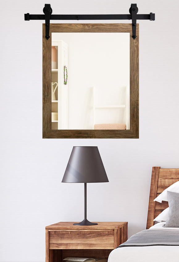 American Made Brown Barn Wood Wall Accent Mirror with 3' Barn Door Kit (V063-3V)  *Suggested Retail*