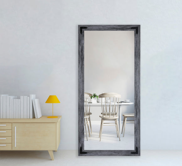 American Made Rayne Gray Barnwood Non-Beveled Wall Mirror with Decorative Corner Brackets (V064T&CVXT-BCB) *Suggested Retail*