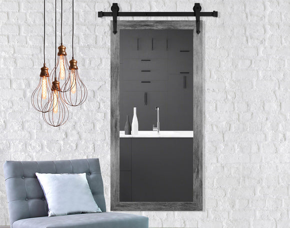 American Made Grey Barnwood Non-Beveled Tall Mirror with 3' Barn Door Kit (V064CVXT/T-3V) *Suggested Retail*