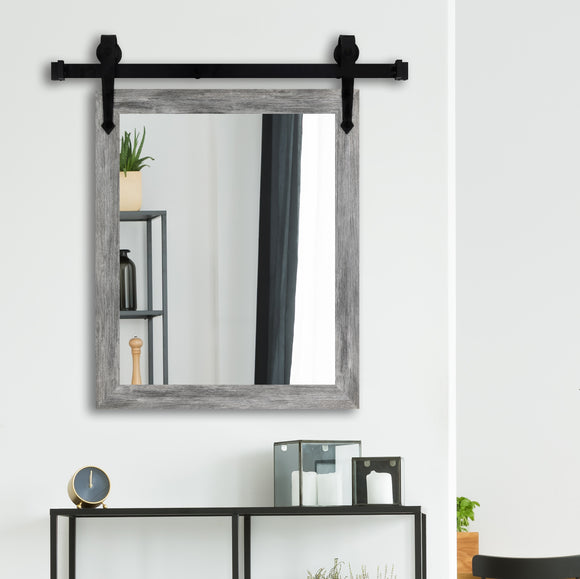 American Made Grey Barn Wood Wall Accent Mirror with 3' Barn Door Kit (V064-3V)  *Suggested Retail*
