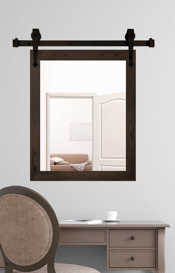 American Made Black Walnut Accent Mirror with 3' Barn Door Kit (V068-3V)  *Suggested Retail*
