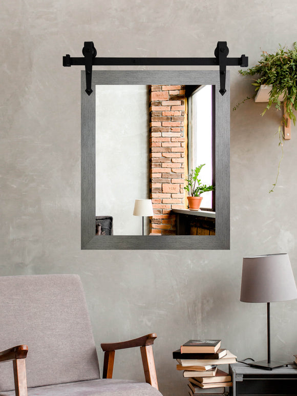 American Made Yukon Silver Wall Accent Mirror with 3' Barn Door Kit (V084-3V)  *Suggested Retail*