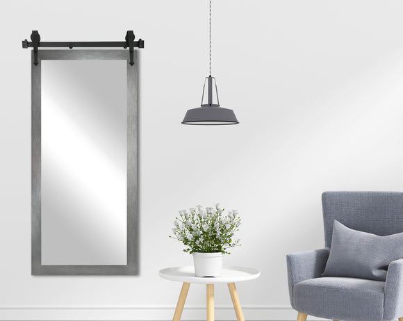 Non-Beveled Wall Mirror with Barn Door Kit (V084T) *Suggested Retail*