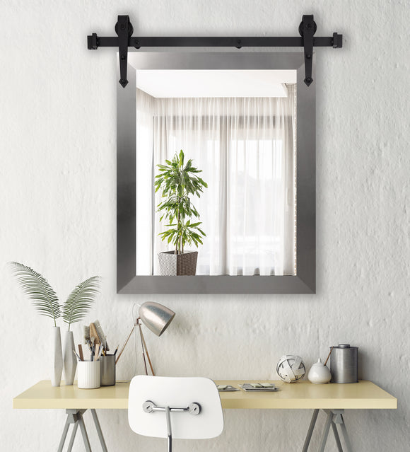 American Made Modern Brushed Nickel Accent Mirror with 3' Barn Door Kit (V088-3V)  *Suggested Retail*