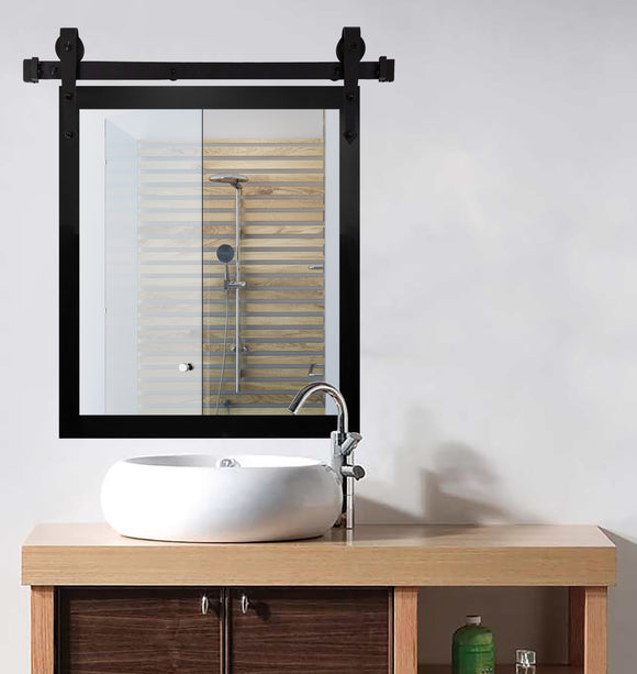 American Made Satin Black Accent Mirror with 3' Barn Door Kit (V089-3V)  *Suggested Retail*